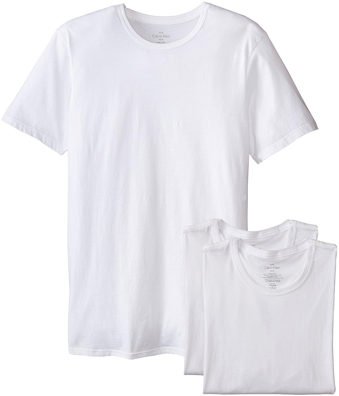 White t shirt calvin klein - Calvin Klein Men S 3 Pack Cotton Classics Slim Fit Crew Neck T Shirt At Amazon Men S Clothing Store