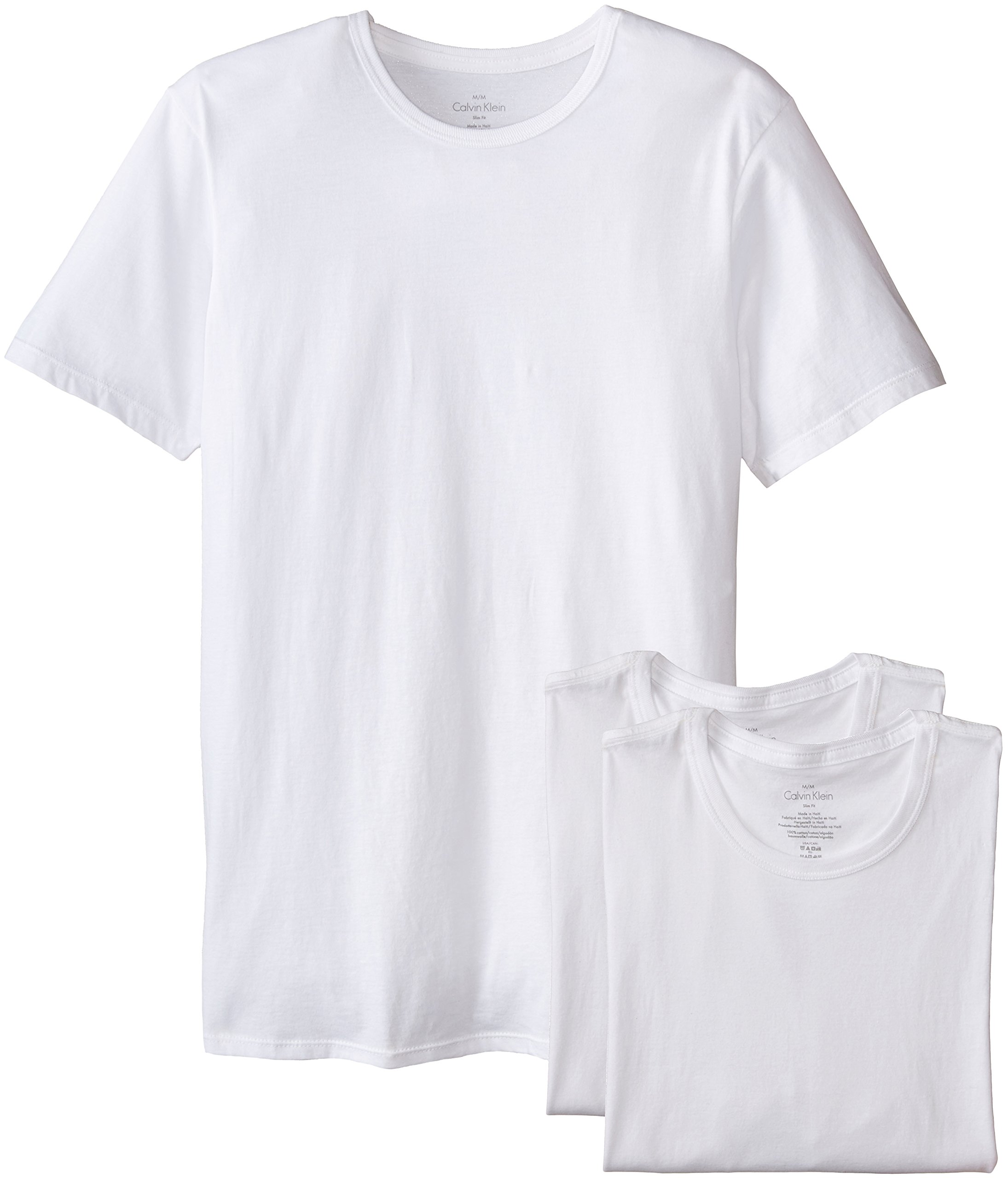 Calvin Klein Men's 3 Pack Cotton Classics Slim Fit Crew Neck T-Shirt, White, Large