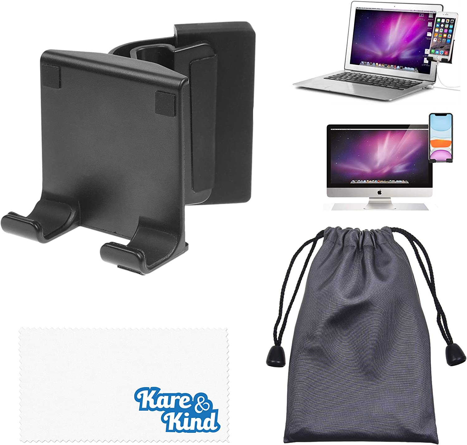 Kare & Kind Smartphone Clip-On Holder - Attaches to Monitor and Laptops - Adjustable Mount for Slim or Thick Monitors (up to 25mm) - with A Universal Phone Dock/Stand