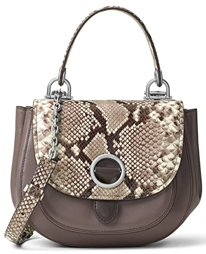 ab46a295b3 MICHAEL Michael Kors Womens Isadore Leather Saddle Handbag Gray Medium   Handbags  Amazon.com