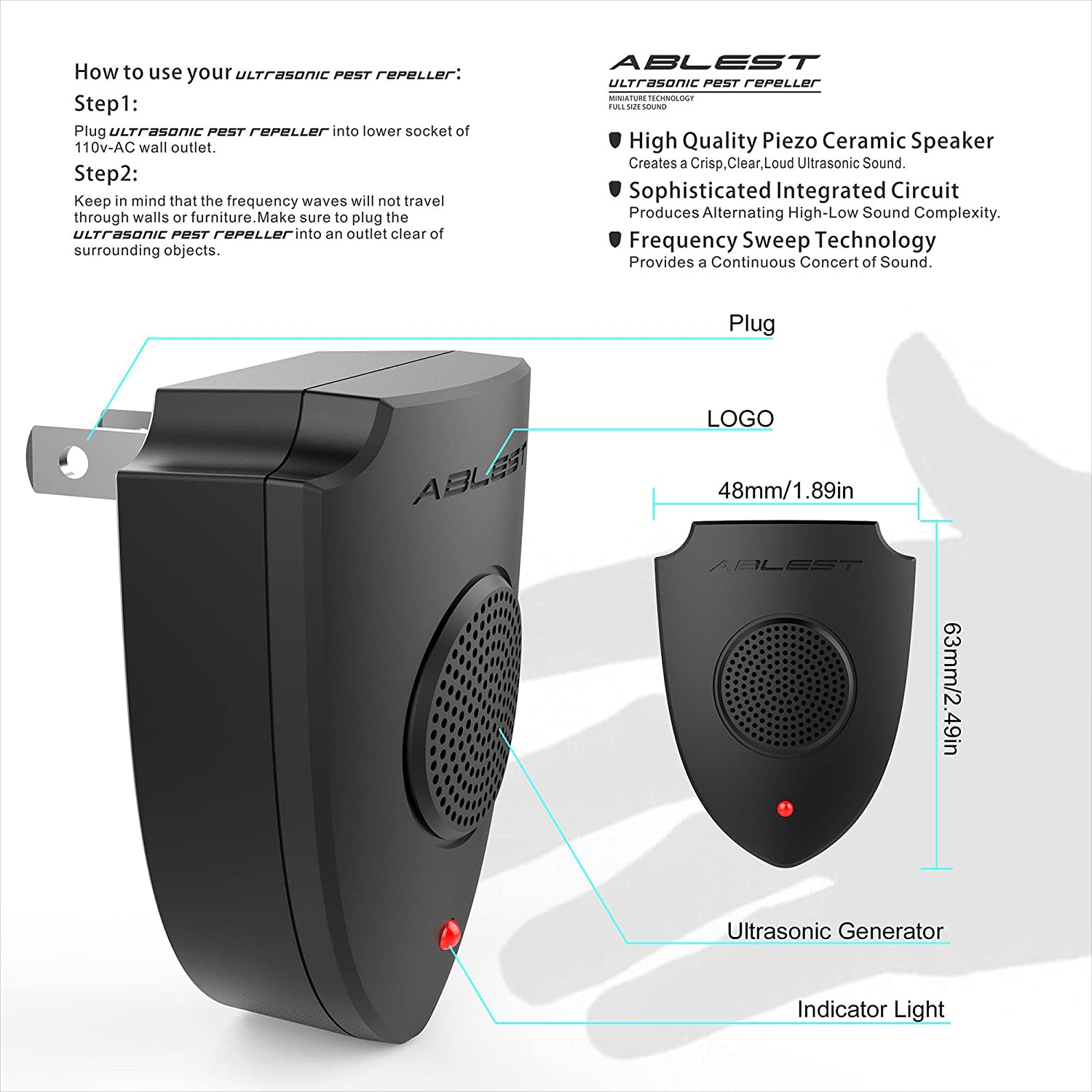 Ultrasonic Pest Repeller Circuit Ablest Indoor Chaser Control Reject For Mice Cockroaches Spiders Bug Mosquitoes Ants Mouse Warrior Black Garden