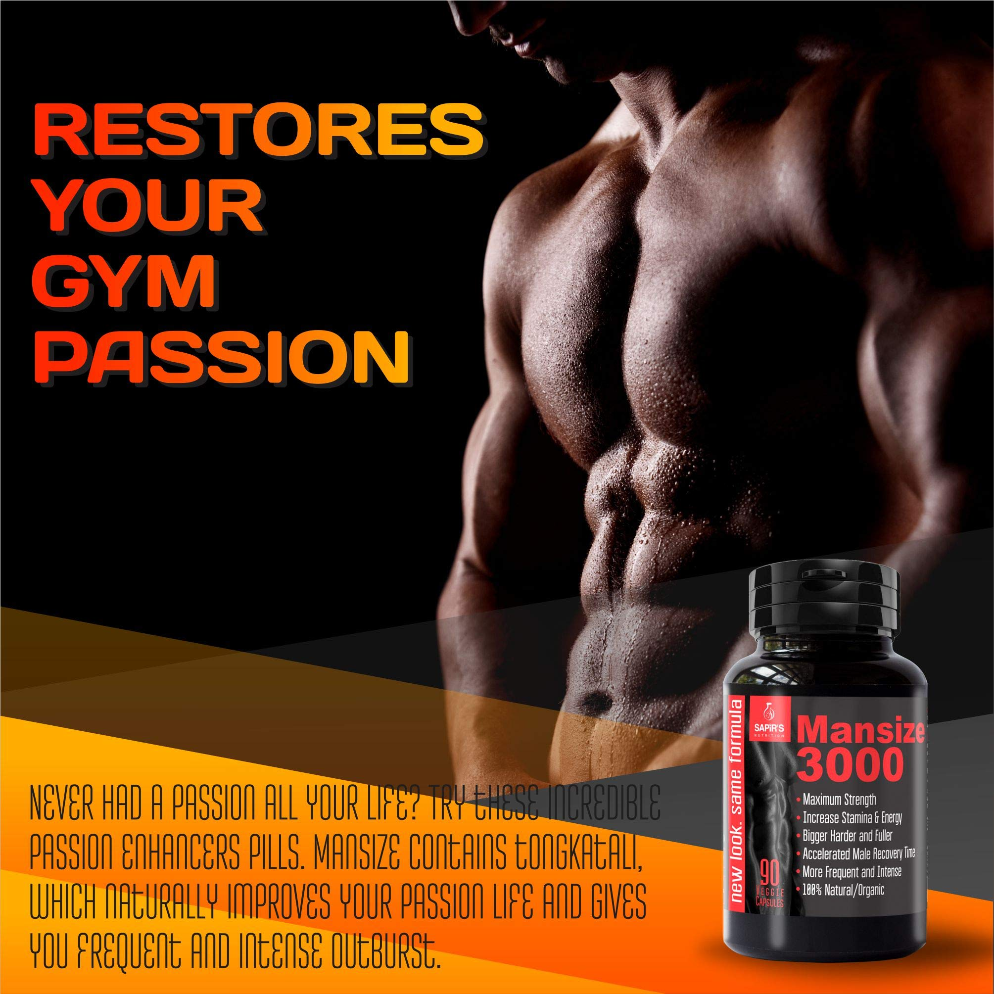 Mansize 3000 Male Enlarger XL 100% NATURAL Performance Amplification Supplement - Male Testosterone Booster, Stamina, Endurance, Strength Booster Male Growth Pills - Mood Enhancer 90 Veggie Capsules