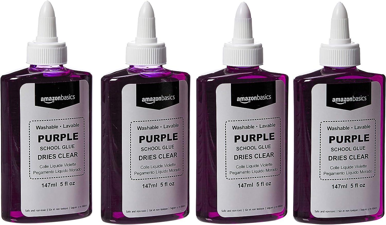 AmazonBasics Purple Washable Liquid School Glue, Dries Clear, 5 oz Bottle, 4-Pack