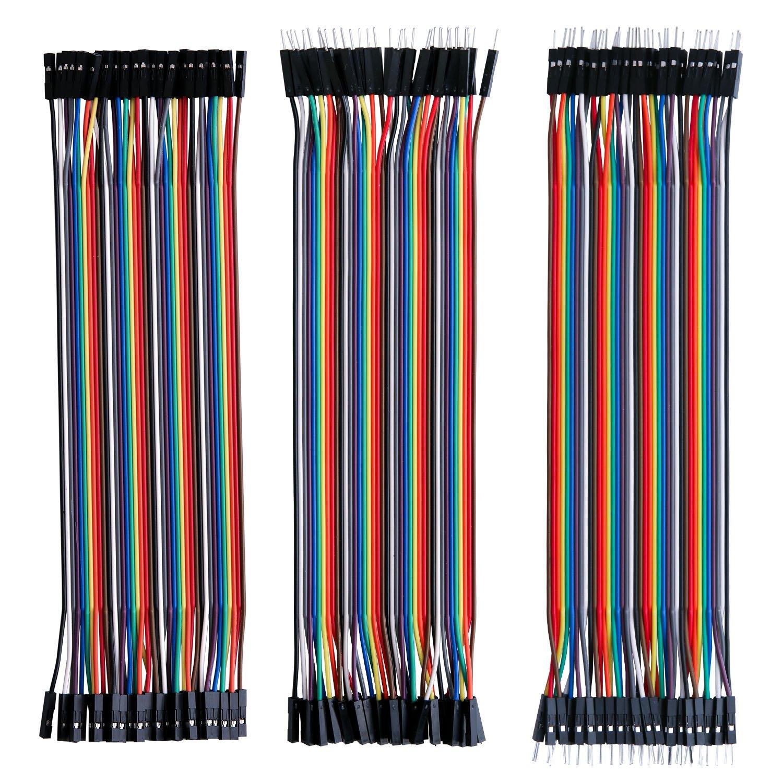 Elegoo 120pcs 3 in 1 Kit Cavetti Jumper Filo Dupont Multicolore Wire Cavi 40 pezzi da M/F Maschio a Femmina, 40 pezzi da Maschio a Maschio, 40 pezzi da Femmina a Femmina per Arduino UNO Raspberry Pi IT-EL-CP-004