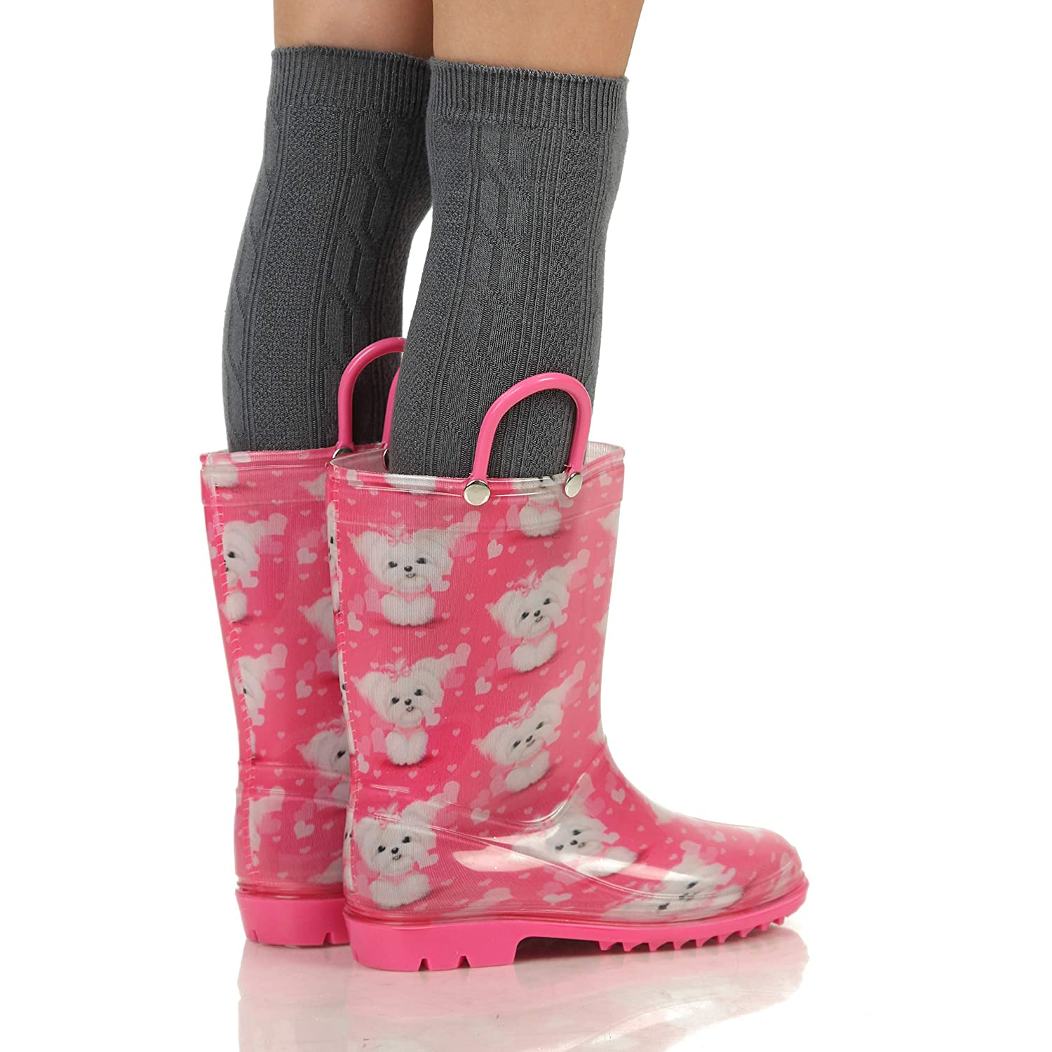 Waterproof Toddler Little//Big Kids Classic Wellies Silky Toes Girls Boys Printed Rain Boots for Kids
