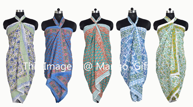 Mango Gifts Hand Block Print Beach Wrap Cover-Up Sarong Dupatta Lot 20 Pieces
