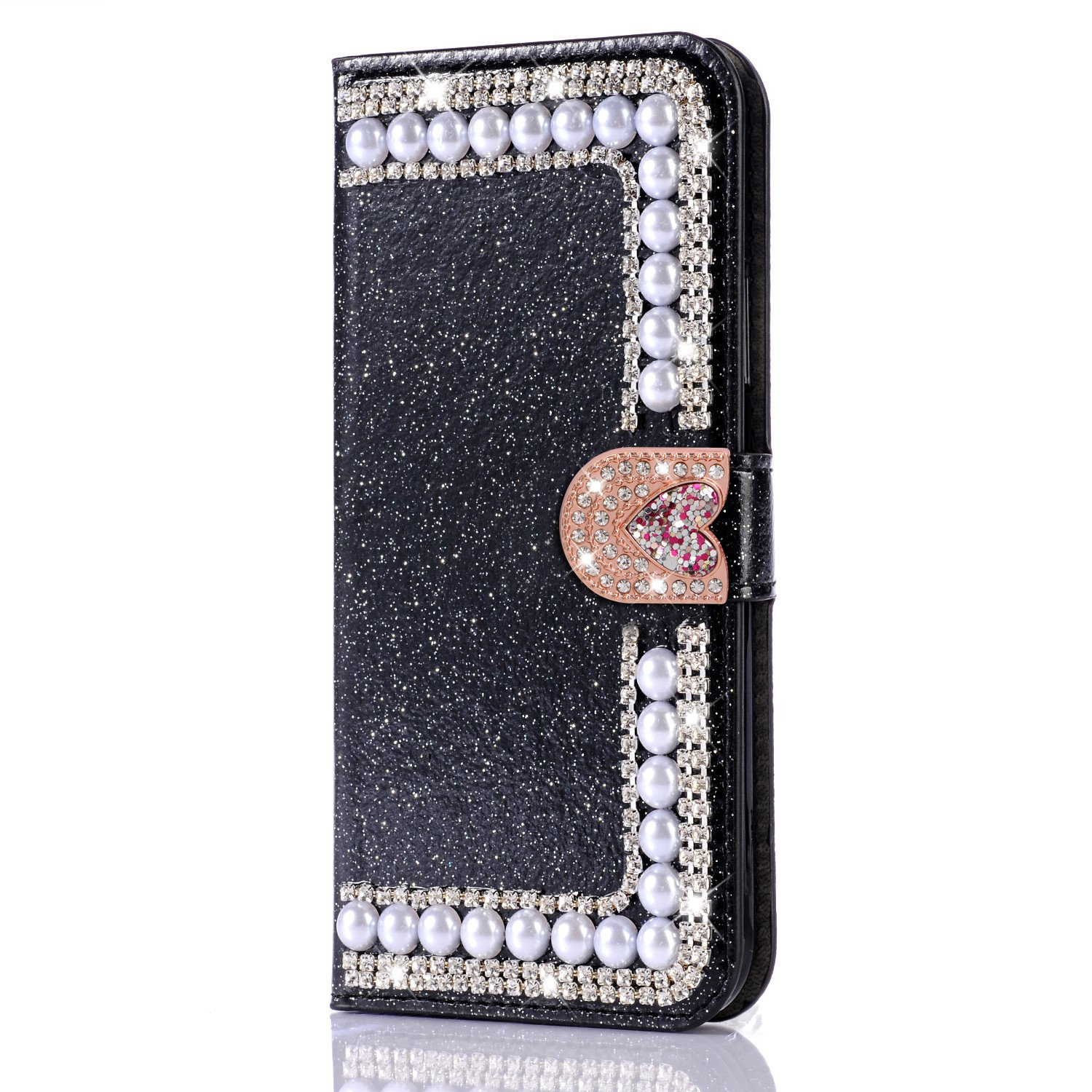 Diamond Case for Huawei P20 Pro,Cistor Luxury Black Glitter 3D Handmade Pearl Wallet Case for Huawei P20 Pro,Soft PU Leather Case with Love Heart Magnetic Closure Card Slot Cover + 1x Free Ring Holder by Cistor (Image #5)