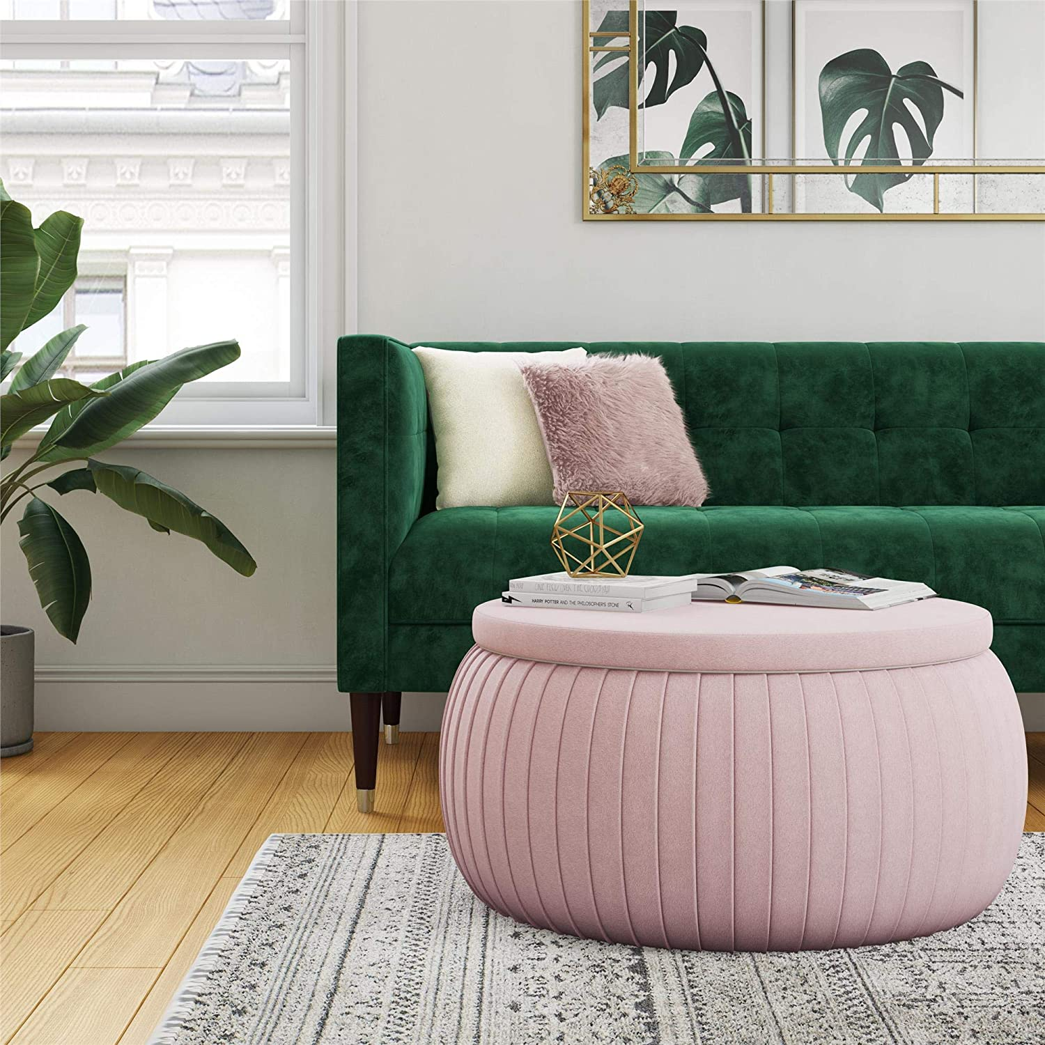 Cosmoliving Sapphire Modern Storage Ottoman Coffee Table With Pleated Pink Velvet Fabric Amazon Ca Home Kitchen