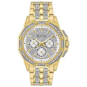 84d50a20e29d Amazon.com  Bulova Men s 98C126 Swarovski Crystal Pave Bracelet ...