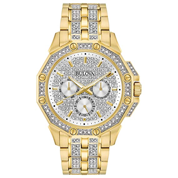 51052924b0c1 Amazon.com  Bulova Men s 98C126 Swarovski Crystal Pave Bracelet Watch   Watches