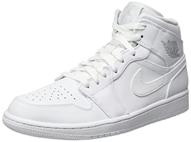 Nike Air Jordan 1 Mid, Baskets Homme, Blanc (White/Pure Platinum-White 104), 42.5 EU
