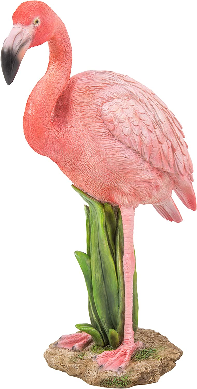 Pink Flamingo Reeds Resin Ornament Excellent Detail  Vivid Arts Garden Ornament.