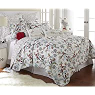 Levtex Holly King Quilt Set, White/Red, Cotton Christmas Holiday