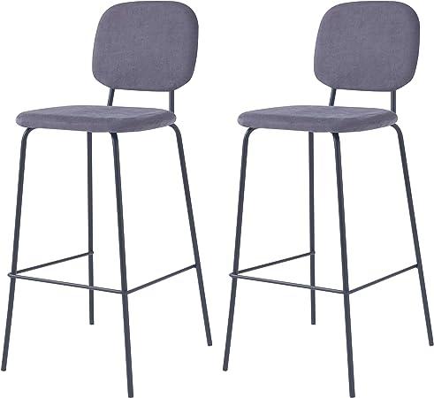 Rendez vous déco Chaise de Bar Jade Grise H75cm (Lot de 2