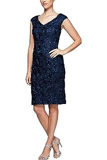 b8ac19354f0d38 Alex Evenings Women's Shift Midi Lace Embroidered Dress (Petite and Regular)