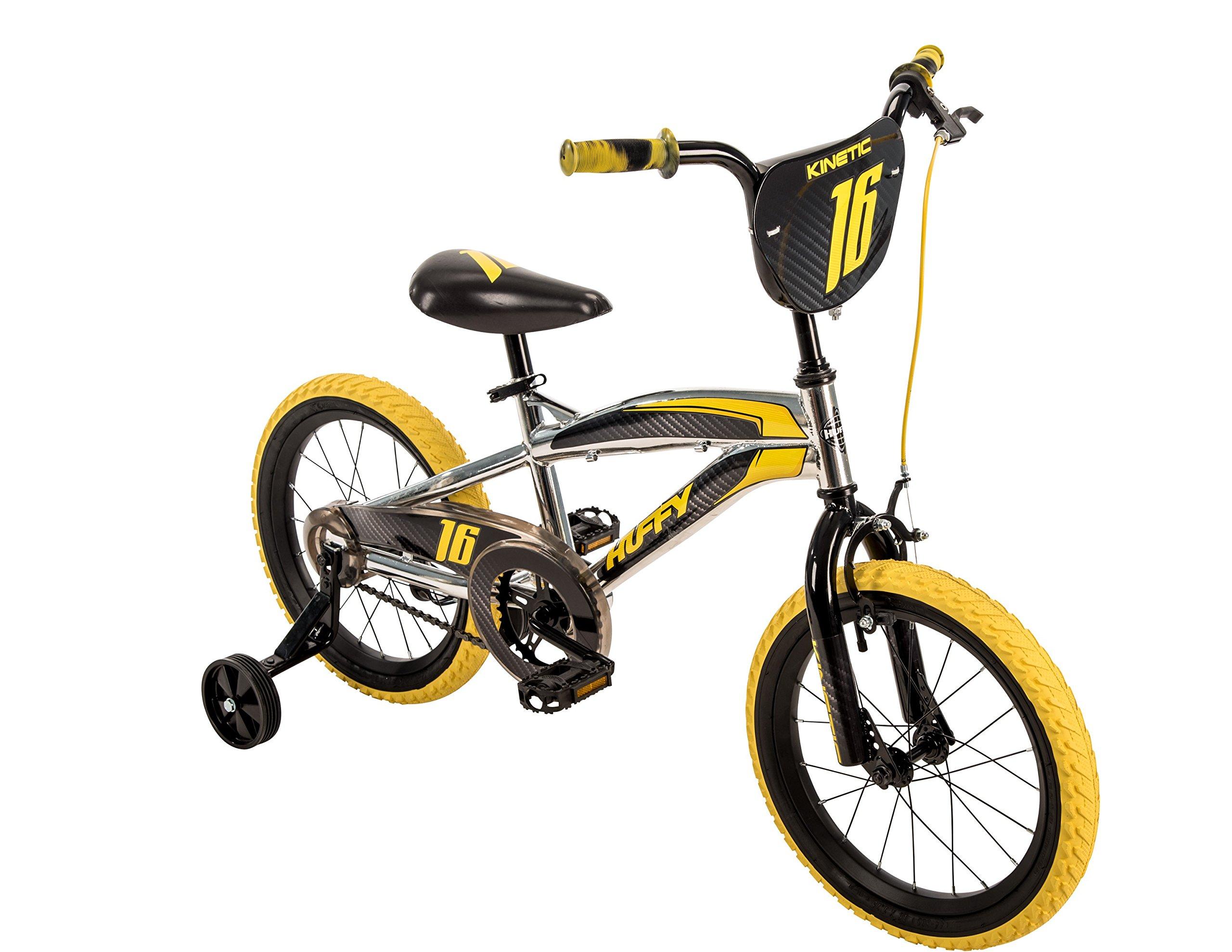 16'' Huffy Kinetic Kid Bike, Yellow w/ Removable Training Wheels