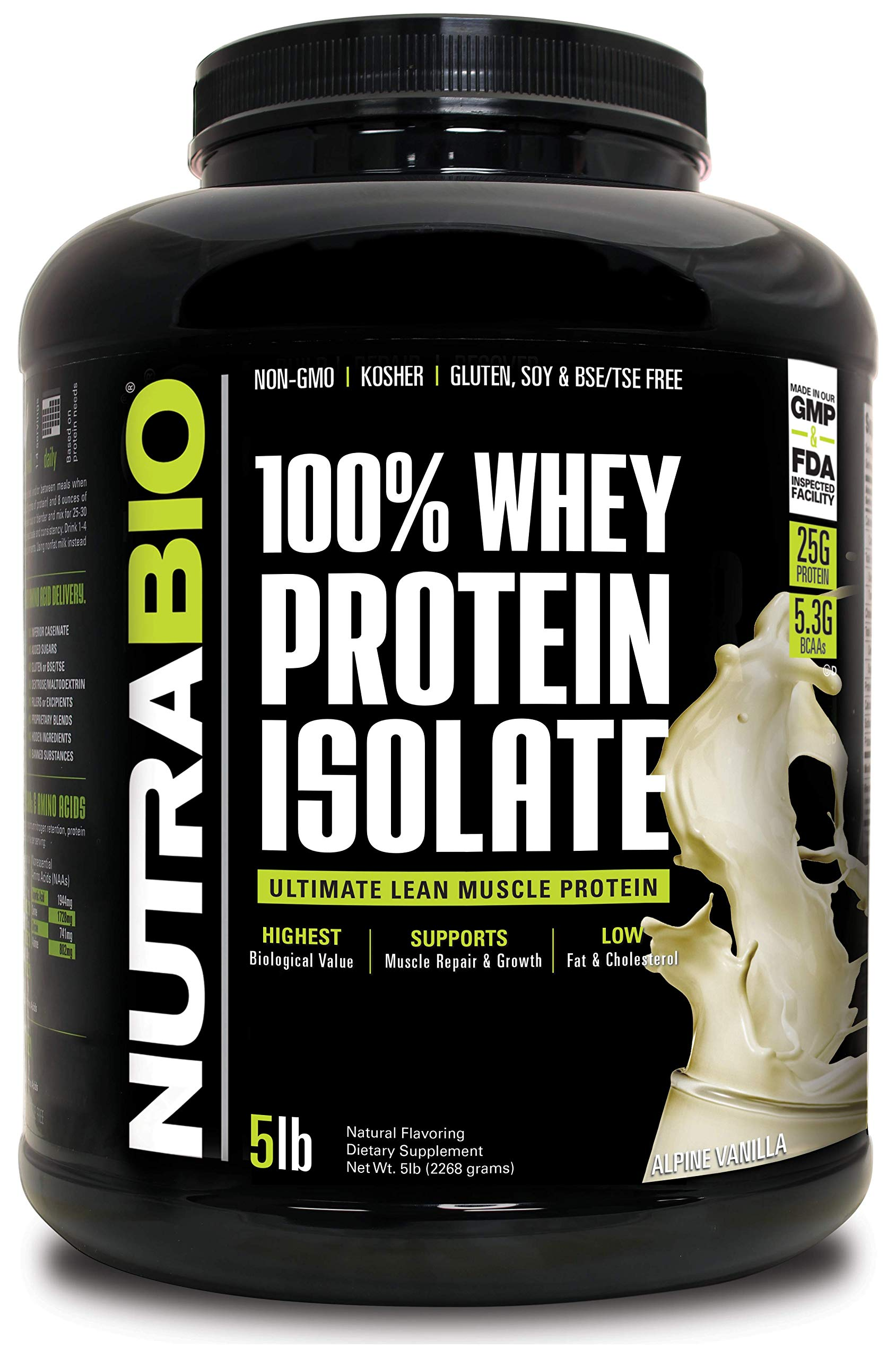 NutraBio 100% Whey Protein Isolate (Vanilla, 5 Pounds) by NutraBio