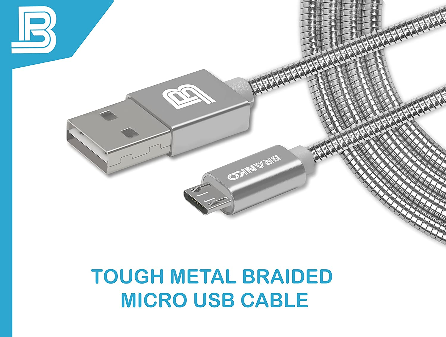 Branko Micro USB Cable | indestructible Metal Braided: Amazon.in ...
