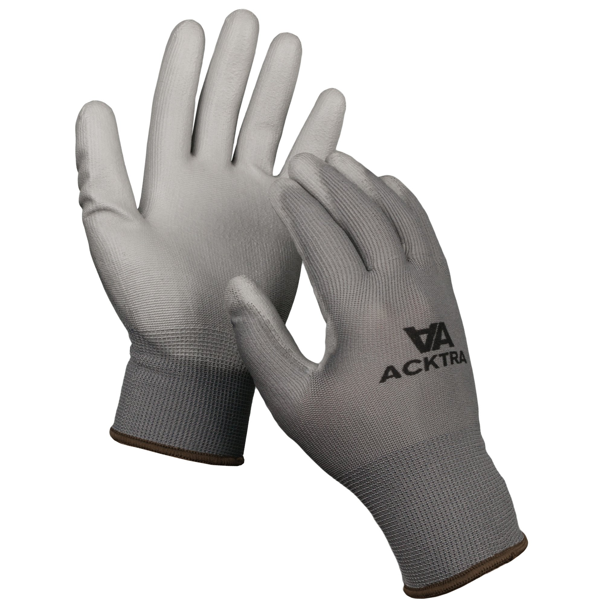 ACKTRA Ultra-Thin Polyurethane (PU) Coated Nylon Safety WORK GLOVES 12 Pairs, Knit Wrist Cuff, for Precision Work, for Men & Women, WG002 Black Polyester, Black Polyurethane, Small 2