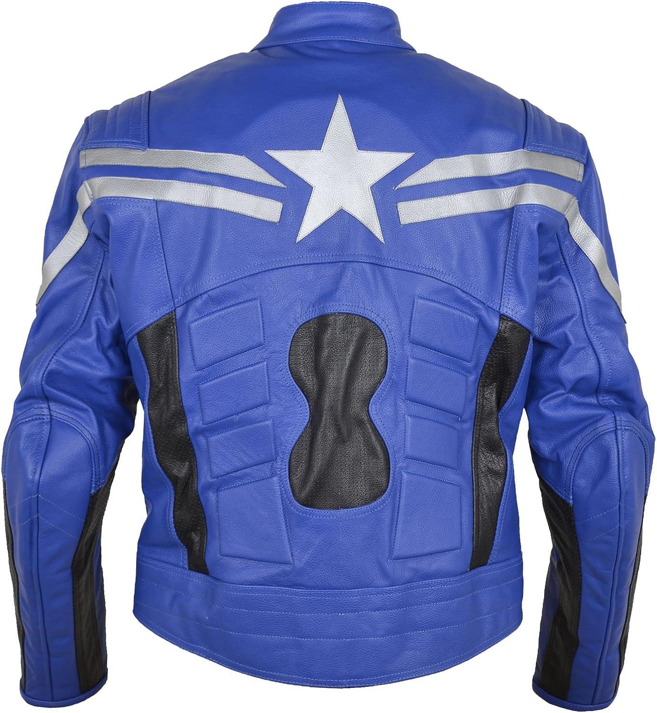 Mens Fashion Captain Winter Original Soldier Leather Motorbike Jacket Blue