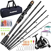 PLUSINNO Freedom Traveler Spinning Fishing Rod and Reel Combos, 6 Pc 30 Ton Carbon Fiber Spinning Rod Poles, 8+1…