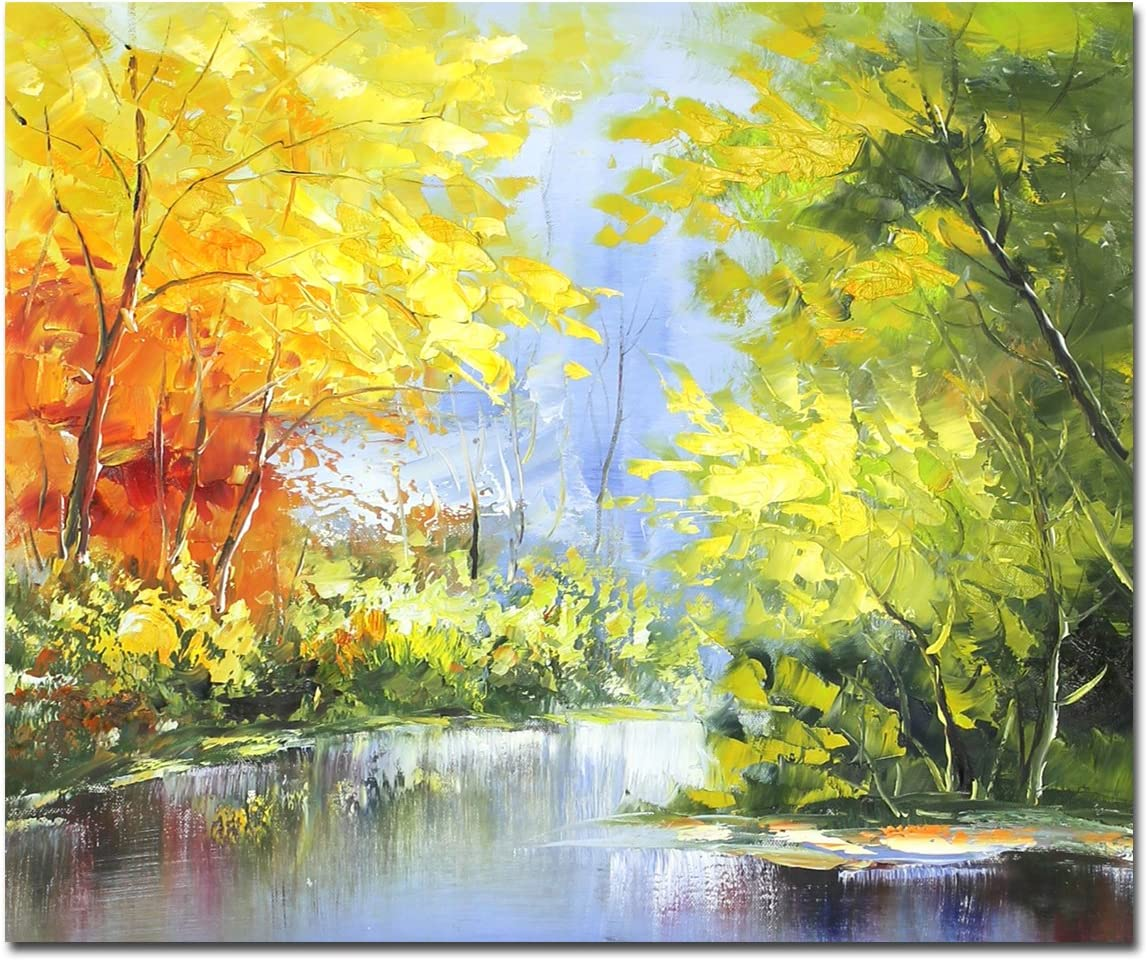 Muzagroo Art Landscape Oil Paintings Original Art Tree Pictures for Living Room Wall Canvas Paintings Yellow, 20x24in