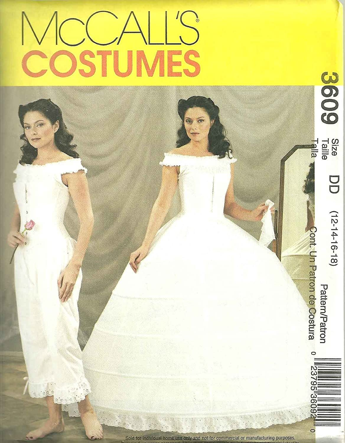 Amazon McCalls Civil War Pattern 3609 Misses Szs 12141618 Hoop Skirt Camisole Corset Pantaloons For Example Gone With The Wind