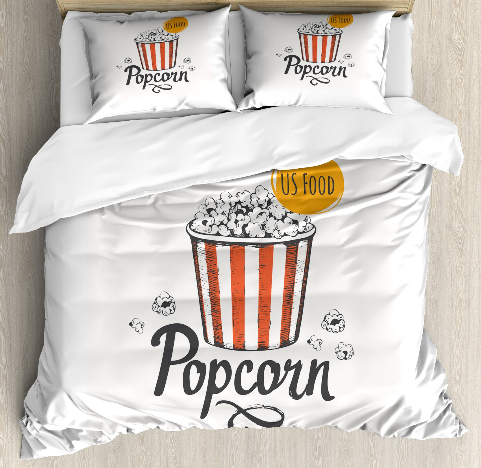 Ambesonne Movie Theater King Size Duvet Cover Set, Sketch Design Cinema Snack US Fast Food Pop Corn Art, Decorative 3 Piece Bedding Set with 2 Pillow Shams, Charcoal Grey Vermilion Marigold