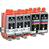 Set de 10 cartuchos de tinta compatibles con Canon Pixma IP100, IP100v, IP110. Sustituye PGI-35, PGI-35BK, CLI-36, CLI-36C.