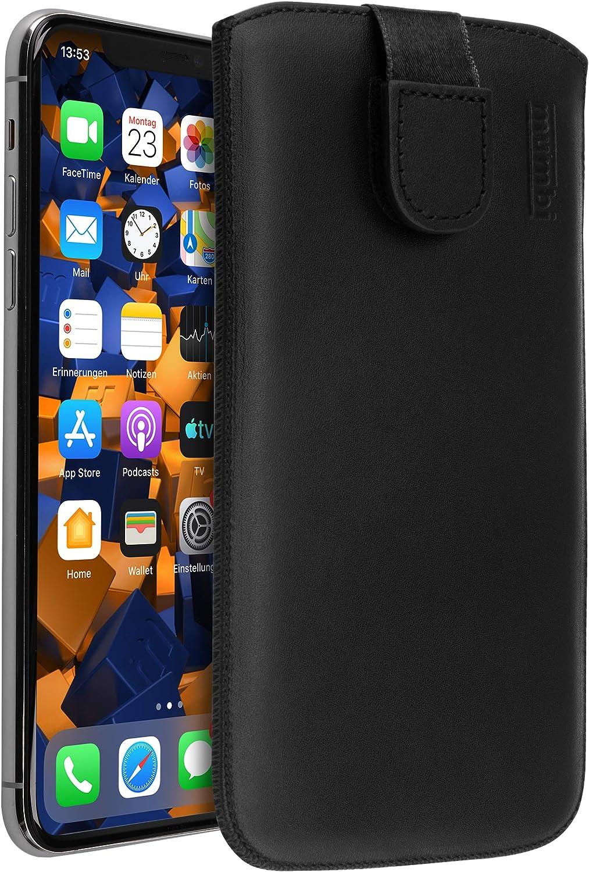mumbi Funda de cuero real compatible con iPhone 11 Pro Max Estuche Bolso de cuero Estuche Monedero, Negro: Amazon.es: Electrónica