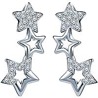 Infinite U - Pendientes de Plata de Ley 925 con Circonitas Cúbicas y Diseño de Pequeñas Estrellas a lo Largo de la Oreja, Color Plateado