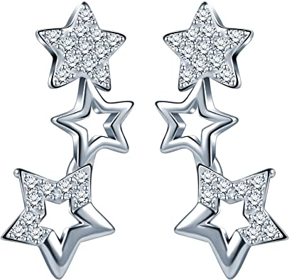 Childrens chicas pin de seguridad de plata esterlina 925 Cristal Aretes-Bolsa