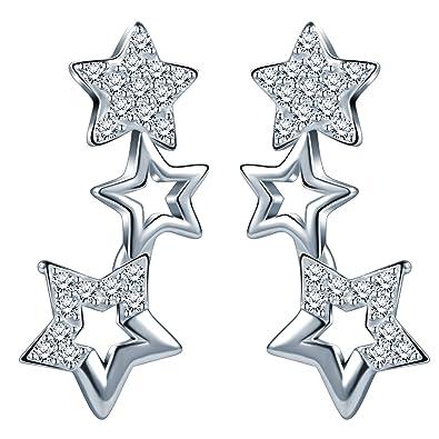 neue angebote online zu verkaufen ankommen Unendlich U Elegant 3 Sternchen Sterne Damen Ohrstecker 925 Sterling Silber  Zirkonia Stecker Ohrringe Ohrschmuck, Silber