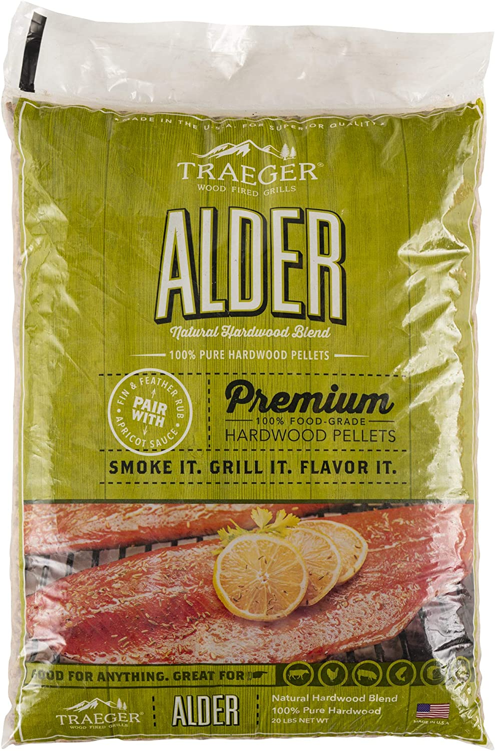 Traeger Grills PEL307 Alder 100% All-Natural Hardwood Pellets Grill, Smoke, Bake, Roast, Braise and BBQ, 20 lb. Bag