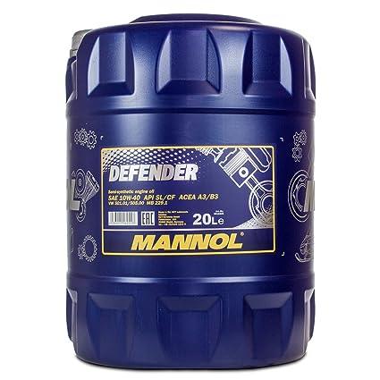 MANNOL Defender 10 W de 40 API SL/CF, 20 L: Amazon.es: Coche y moto