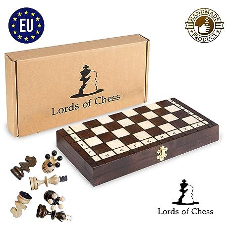 Amazinggirl Juego de ajedrez Hecho a Mano. Tablero de ajedrez Noble de Madera. Piezas