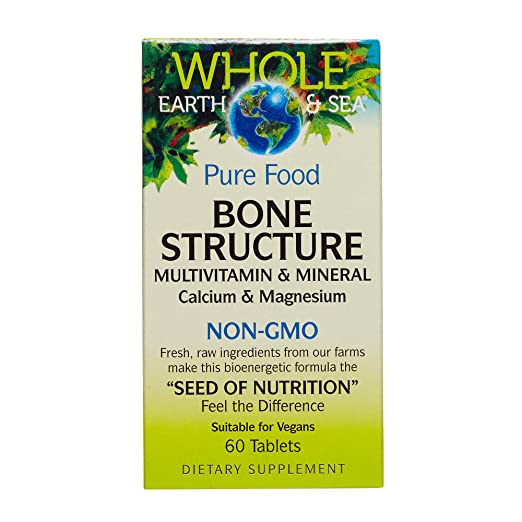 Pure Food Bone Structure plant-based calcium supplement, non-GMO