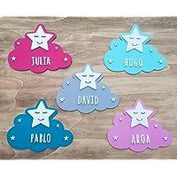 KARIVOO Nube y Estrella de madera MDF personalizada con el nombre para niño y niña para decorar dormitorio cama, puerta…
