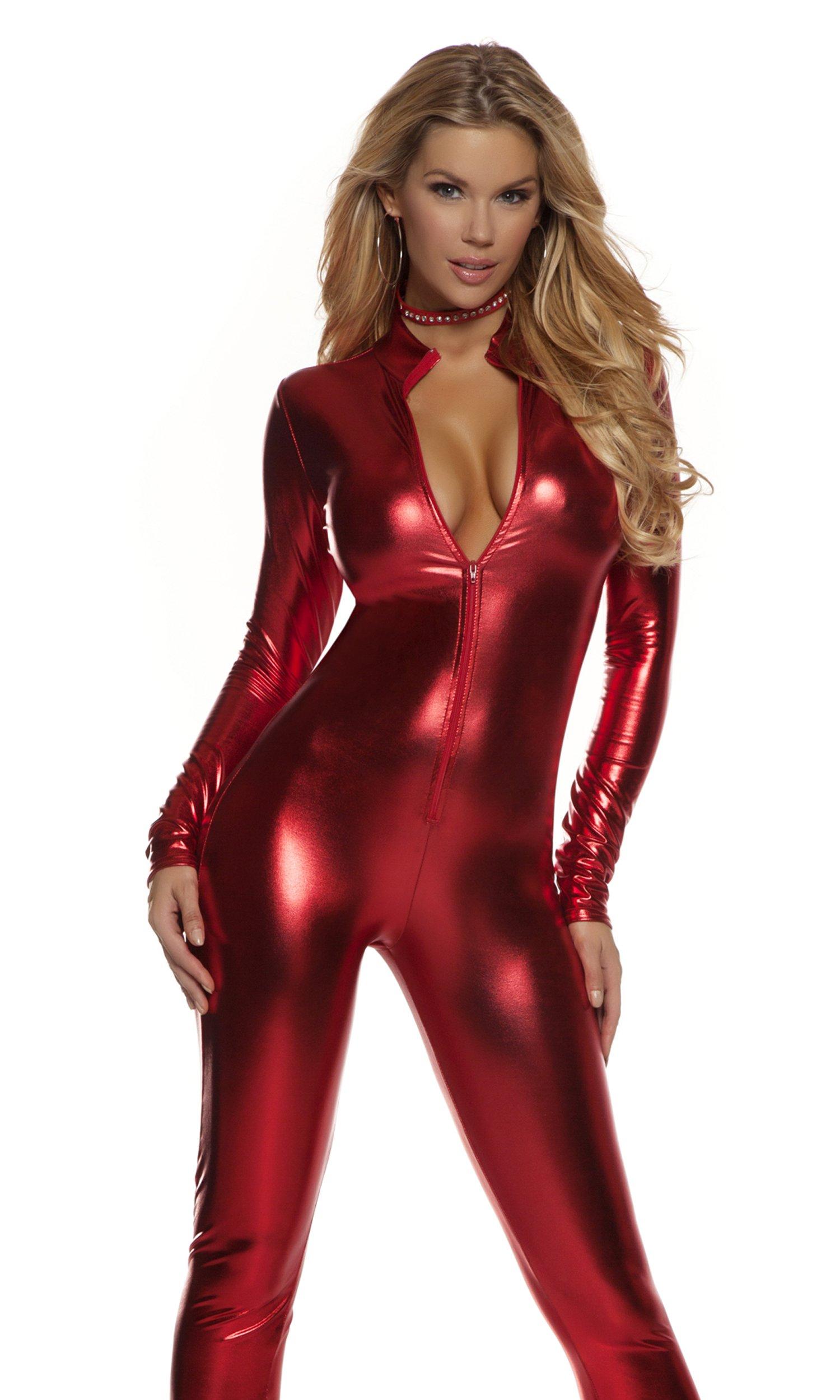 Forplay Women's Metallic Zip Front Mock Neck Catsuit, Red, Small/Medium