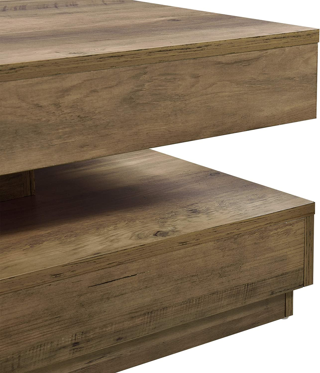 [en.casa] Coffee Table Living Room Furniture with Storage 76x76x38cm Particleboard in Concrete Color Wood