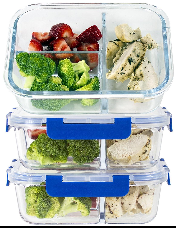 (3er-Set) 3-fach Premium-Frischeboxen Glas-Set mit Deckel [LEBENSLANGE GARANTIE auf Deckel], Meal Prep Container BPA-frei, geeignet für Mikrowellen, Backöfen, Gefrierschränke, Geschirrspüler 1L Volumen, rechteckig Backöfen Gefrierschränke Misc Home