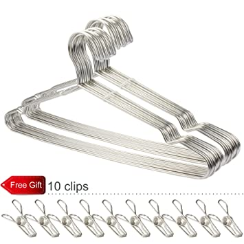 Amazon.com: Gabbay Wire Hangers Stainless Steel Strong Metal Wire ...