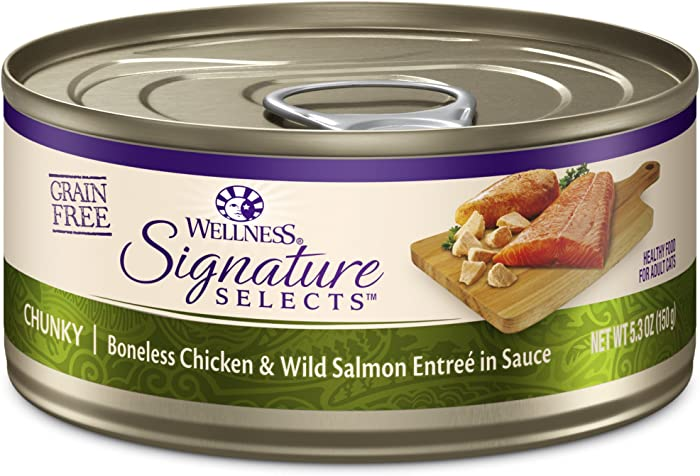 Wellness Core Signature Selects Grain Free Wet Canned Cat Food, Chunky Chicken & Salmon, 5.3-Ounce (Pack Of 12)