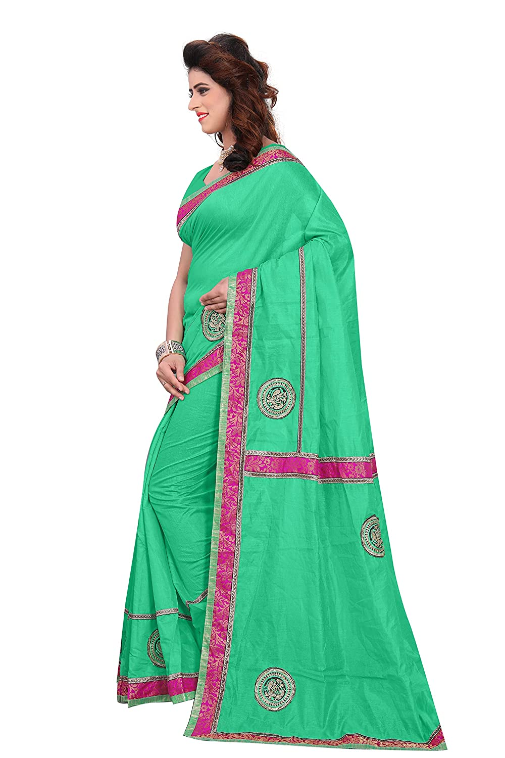 8a1d6366ed227a kirz web store women's cotton silk saree With Blouse Piece(light green  2320_bhagal): Amazon.in: Clothing & Accessories