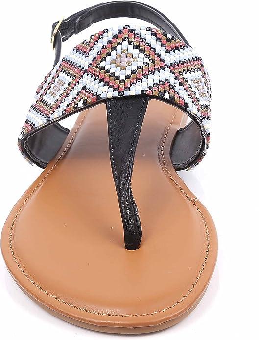 Women/'s T-Strap Sandals Slingback Thongs Embroidered Strap Flip Flops Boho Flats