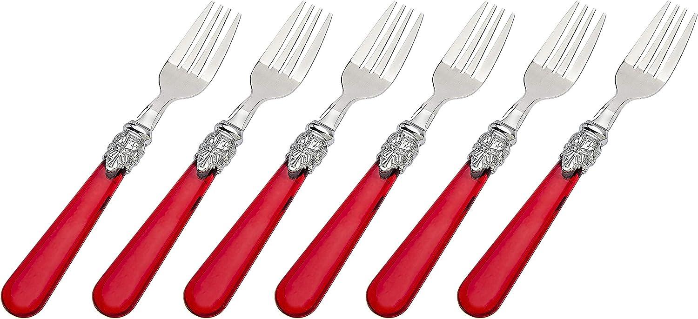 Set of 6 Red Godinger Dessert Forks Tasting Forks