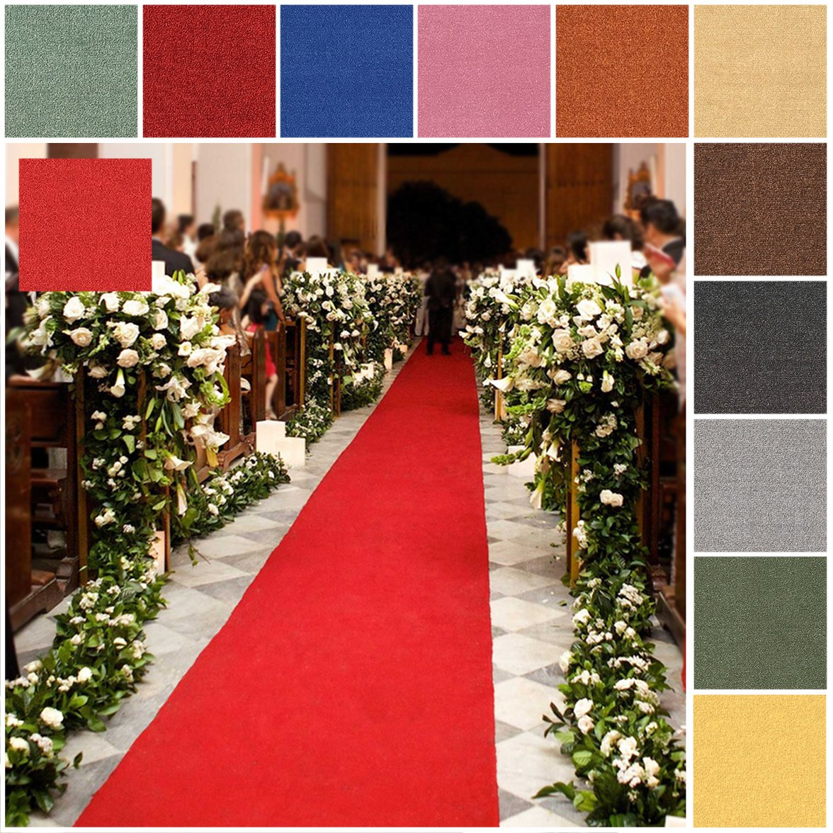 Custom Size RED Rubber Backed Wedding Event Hallway Entry Aisle Stair Runner Rug Carpet 26in X 27ft