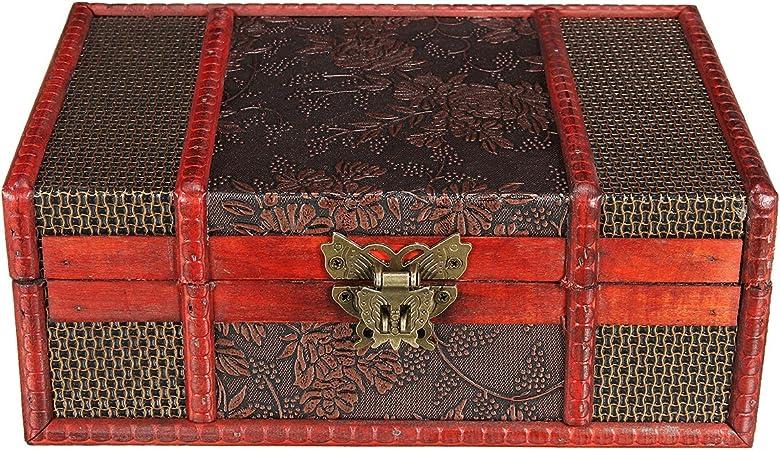 Cofre del Tesoro Vintage Pequeño Muebles con metal herrajes Caja de madera Joyero Madera con candado: Amazon.es: Hogar