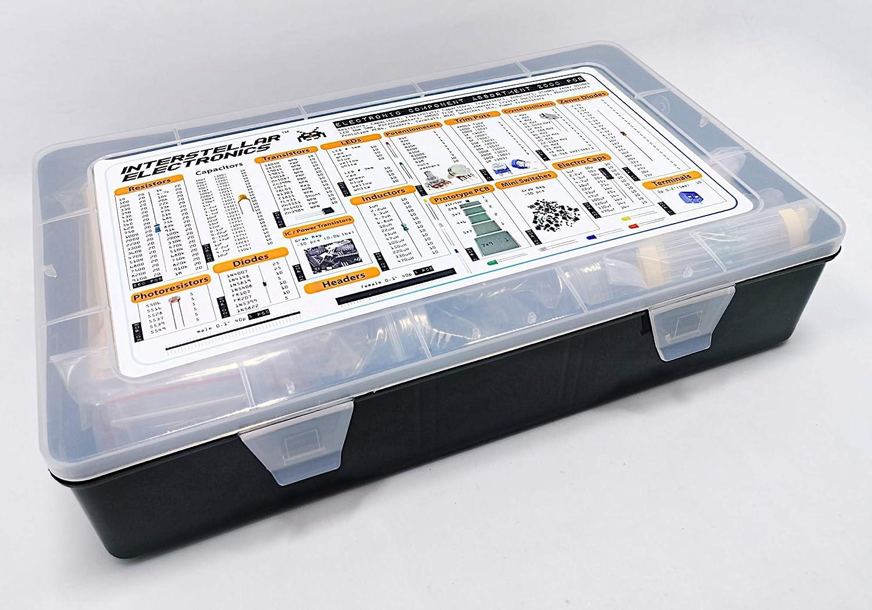 Surobayuusaku Electronic Components Kit Electronic Components Assortment LED Diodes Transistor Electrolytic Capacitors Resistors 1390pcs