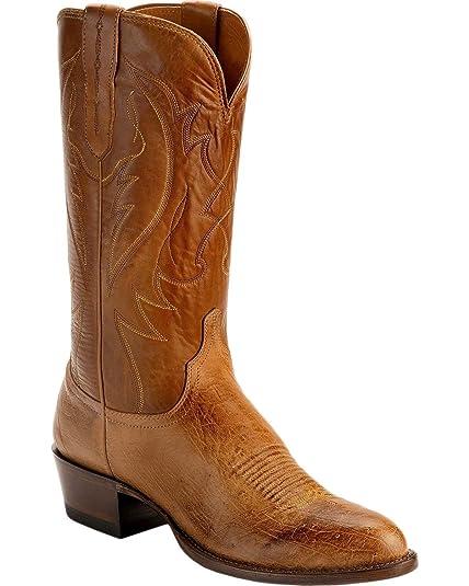 Lucchese m1600.r4 Wylie para Hombre marrón Burnished Suave Pluma Avestruz Botas de Vaquero, Marrón (Bronceado), 11 2E US: Amazon.es: Zapatos y complementos